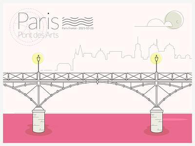 Souvenir from Paris bridge vector dribbleweeklywarmup letter paris illustration postcard card weeklywarmup playoff