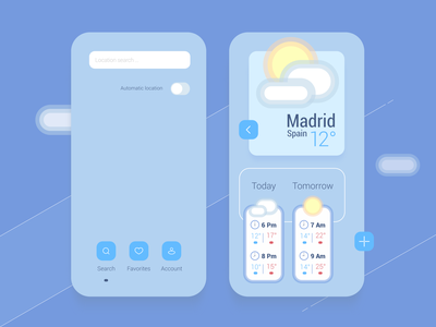 Météo weather app concept screen playoffs weather mobile ui design app vector