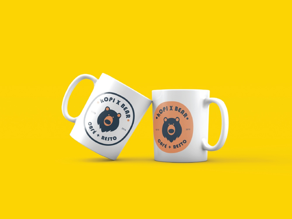 Kopi Bear Cafe Mock Up mockup design mockup flat vintage logo identity design type logo design food and drink design icon minimal logo illustrator vector illustration branding