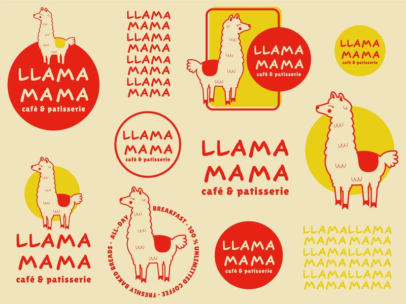 Llmamama Cafe cleanlogo vintage logo identity design logo design food and drink design typography icon minimal logo illustrator flat vector branding illustration