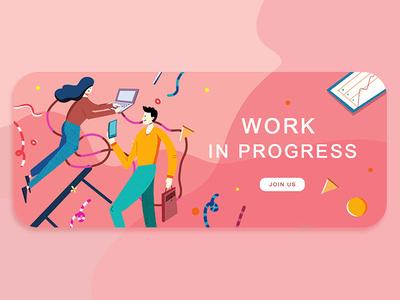 work in progress banner ux ui 插画练习 插画 平面 设计 人物插画 插图