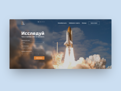 Service for selling tickets to the Moon web design website web service site moon rocket cosmos