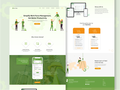 Work Management One Page Website, Listing product features webdesign front-end development website website design ux ui design concept illustration adobe ilustrator