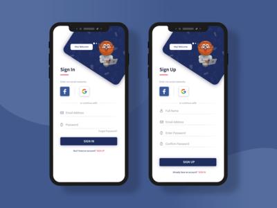 Sign In Sign Up Mobile App Design concept