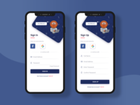 Sign In Sign Up Mobile App Design concept