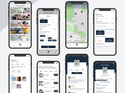 Concierr - Search Near By Service Providers lottie mobile app design mobile design mobile ui animation illustration ui ux concept design photoshop adobe ilustrator