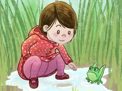 Katie - detail painting dry media brush cintiq childrens illustration family photoshop illustration