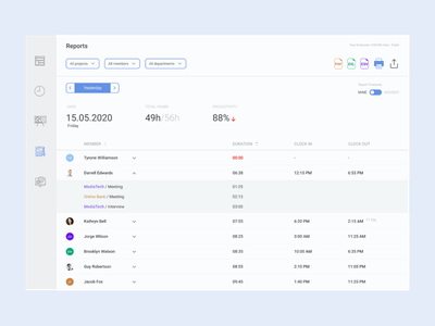 Time Tracking Daily Report report timetracking web ux ui design