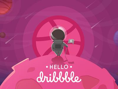 Hello Dribbble spaceman shot dribbble best shot company branding design illustration illustrator firstshot dribbble