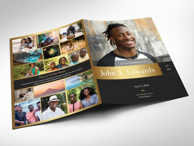 Remember Gold Funeral Program Word Publisher Large Template memorial service remember gold black golden gray 8 pages boy printable book man father male men large tabloid ledger youth eulogy burial obituary template bi-fold brochure word publisher funeral program
