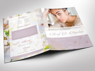 Blossoms Funeral Program Word Publisher large Template memory memorial spring design purple green pastel burial keepsake word publisher book large tabloid ledger 8 pages booklet bi-fold brochure cherry blossoms female woman mother eulogy template obituary sample funeral program