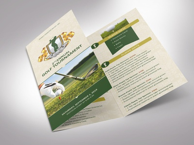 Charity Golf Tournament Brochure Template | Tri-Fold | Word beige gold green word publisher tee off fund-raising flyer sponsor proposal registration form golf club sports pamphlet charity golf golf party invitation leaflet tri-fold brochure golf program templates