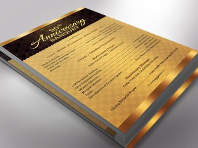 Golden Church Anniversary Program One Sheet Word Template