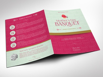 Mothers Day Event Program Word Publisher Template - Large gold teal fuchsia pink printable template large tabloid word template gala program pink theme church program banquet program mothers day program templates publisher template templates
