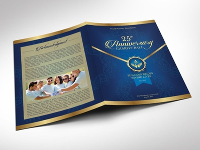 Blue Gold Anniversary Gala Program Word word publisher deep blue charity program navy blue blue gold bi-fold brochure pastor appreciation church anniversaery independence ball church bulletin leaflet program cover event program program templates word template publisher template templates