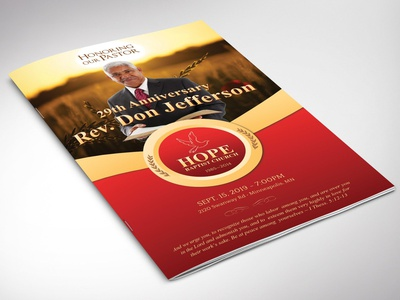 Pastor Anniversary Program Word leaflet bulletin non-profit luncheon banquet independence ball pastor appreciation church anniversary red gold 8 pages bi-fold brochure design program templates gold word template publisher template templates