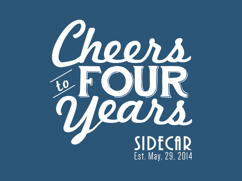 Cheers To Four Years branding vector logo