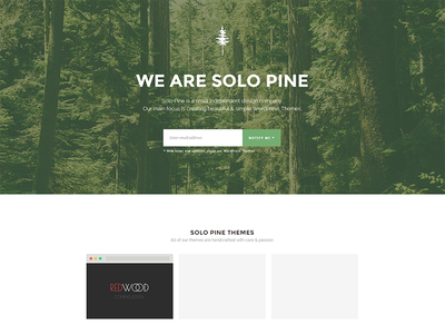 Solo Pine Website website landing page themes illustration pine forest about us about connect subscribe newsletter follow