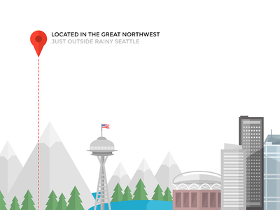 Located in the great Northwest illustration city skyline mountains pine trees location seattle