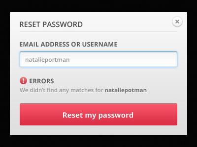 Reset Password ui reset dialog form gray modal