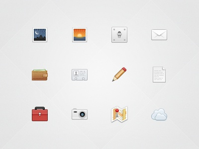 Iora Icon Set iora 32px icon icon set icons subtle nice sexy glyphs vcard photo preferences settings mail shadow wallet pencil document suitcase camera map location cloud