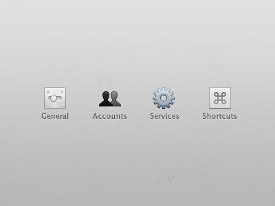 Icons for an app icons app clean general settings accounts services shortcut gear blue ui