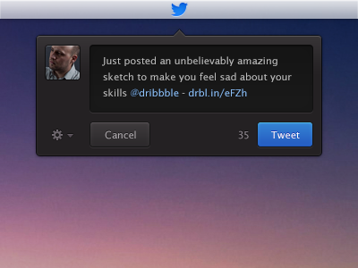 Tweet Like a Baws quick tweet app mac os x top bar lucida sans small font blue ui ux