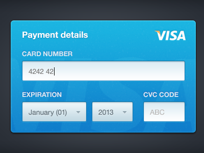 Credit Card Form form ui ux blue credit card simple clean texture visa helvetica neue