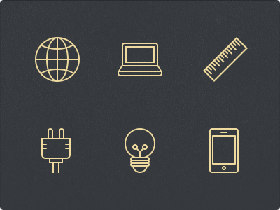 Stroke Icons icon glyphs 64px stroke ruler globe laptop world plug bulb iphone