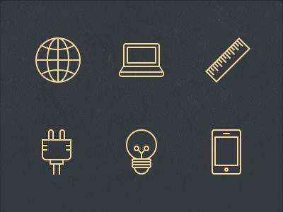 Stroke Icons icon glyphs 64px stroke ruler globe laptop world plug bulb iphone