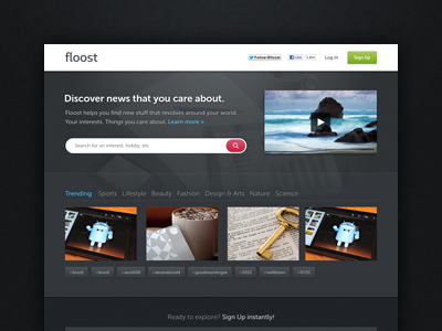 Homepage for Floost ui ux web site pattern texture blue dark call to action cta nuance contrast