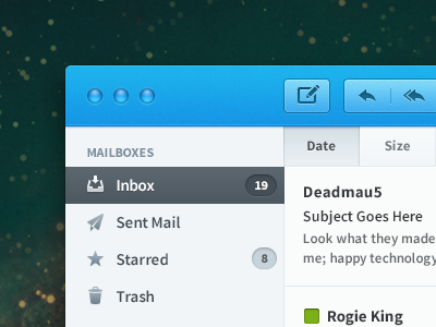 Mail App practice mail app os x mac blue glyphs email source sans pro label colours typography