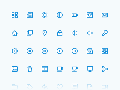 Omnomicons creativemarket omnomicons icons glyphs blue shades nuance pack purchase