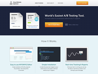 Visual Website Optimizer Landing Page landing page ab testing blue icons features usp intro sleek clean graph data real-time open sans museo sans nuance vwo visual website optimizer