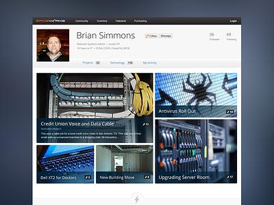 Portfolio Network for IT Pros social network profile community ui portfolio projects user technology web application