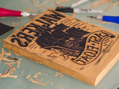 My First Block Print linocut block print lettering ship boat sails cannon wood