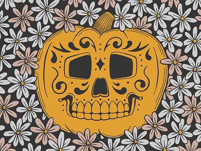 Pumpkin Contest pumpkin skull halloween illustration fall flowers daisies ink pen