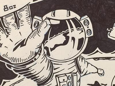 Space Man illustration ink planet earth astronaut suit glove helmet space