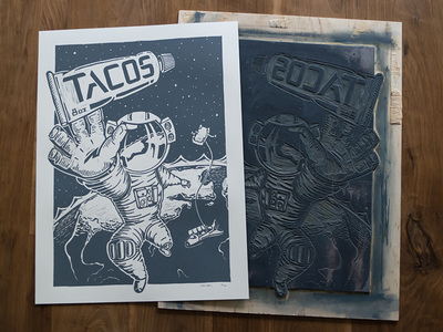Space Tacos suit earth astronaut illustration poster lino wood block block print tacos space