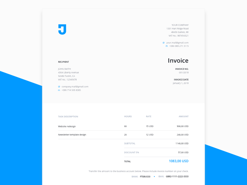 free invoice template for design services by jaka jejcic dribbble