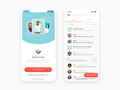 Hey Chat App onboarding dashboard color ios mobile ux ui chat screen app
