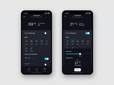 Air App Concept clean modern home air condition screen ui ux concept app mobile