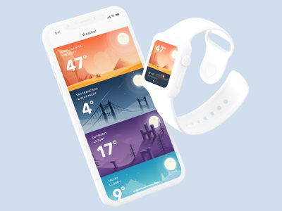 Brilliant brand illustrations apple watch design weather neumorphism animation flat vector app icon ux ui illustration