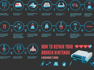 Holy Galaga - NES DIY infographic how-to nintendo gaming diy icons flat shadow