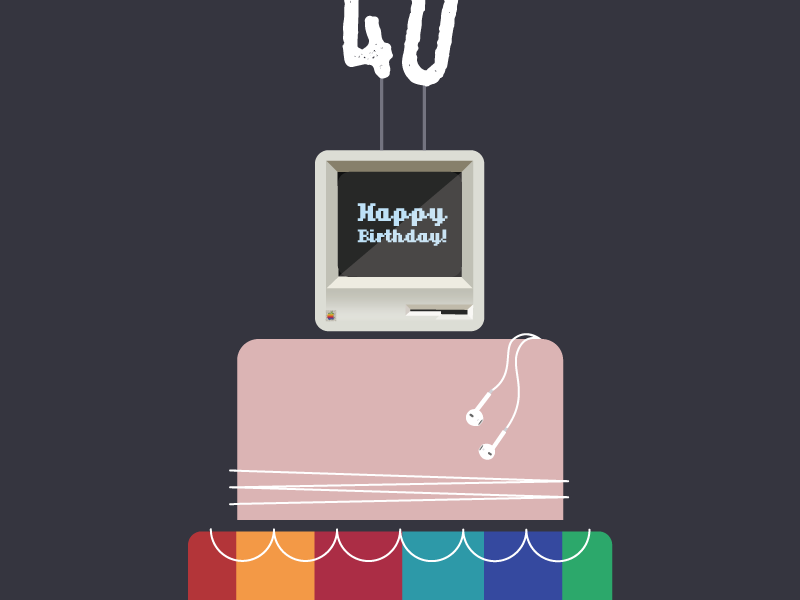 Happy Birthday, Apple! wires headphones steve jobs rose gold ios mac birthday cake apple