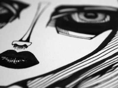 Christina Ricci sketch editorial caricature black and white white black line ink illustration