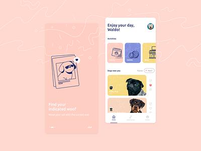 Social Woof tinder social pet dog home onboarding ux app ui illustration