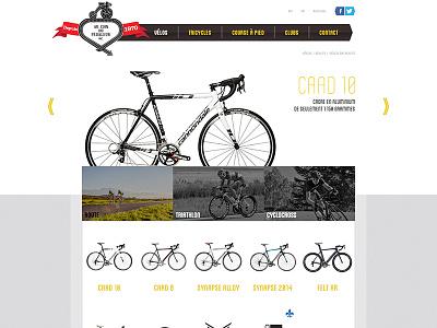 Bikes web design grid yellow header slideshow