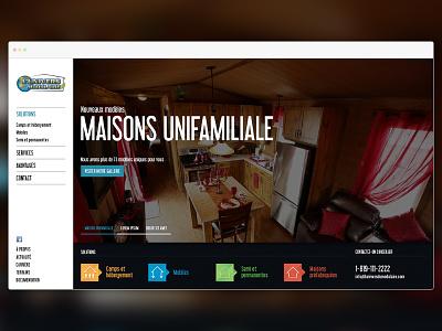 Prefab & Modular Homes fullscreen fixed home left nav ui design responsive web