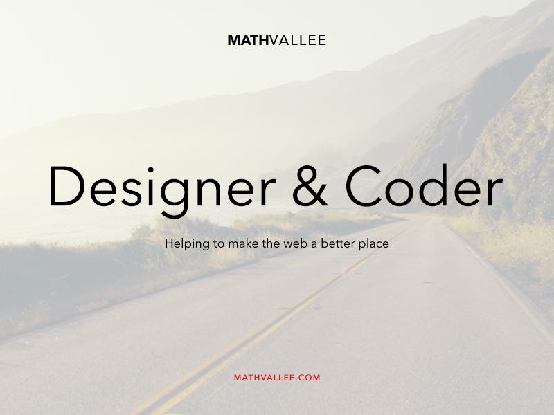MathVallee – Designer & Coder ui design home designer coder photography fullscreen simple clean responsive web